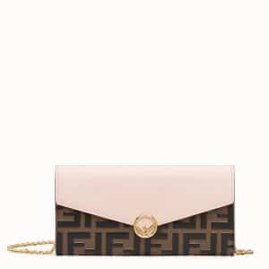 Fendi Light Pink Calfskin/FF Embossed Continental F Wallet on Chain Bag