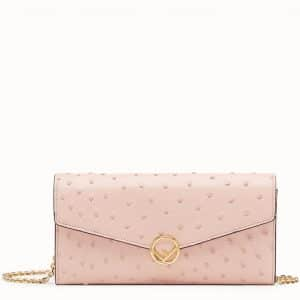 Fendi Light Pink Continental F Wallet with Chain Bag