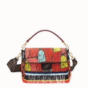 Fendi Multicolor Beaded Fendi Roma Amor Fabric Baguette Bag
