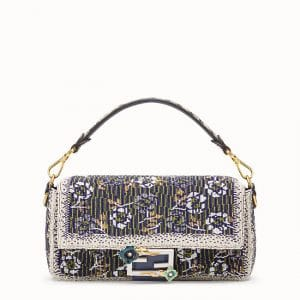 Fendi Multicolor Floral Embroidered Baguette Bag