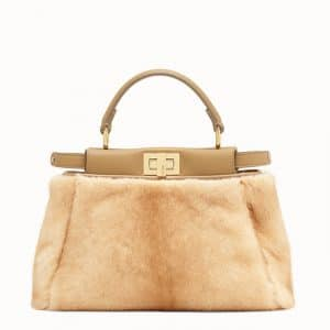 Fendi Natural Mink Peekaboo Mini Bag