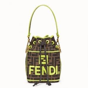 Fendi Neon Green Fendi Roma Amor Fabric Mon Tresor Bag
