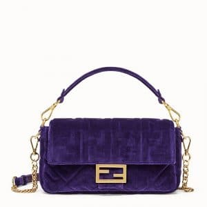 Fendi Purple FF Velvet Baguette Bag