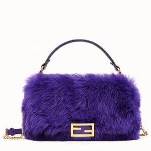 Fendi Purple Sheepskin Baguette Bag