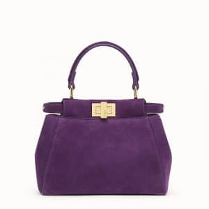 Fendi Purple Suede Peekaboo XS Bag