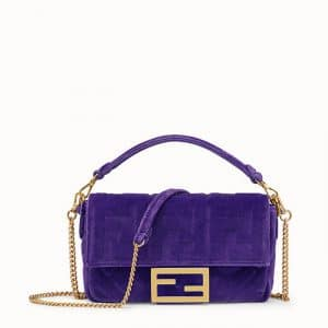 Fendi Purple Velvet FF Embossed Mini Baguette Bag