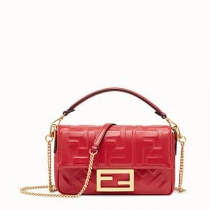 Fendi Red FF Embossed Mini Baguette Bag
