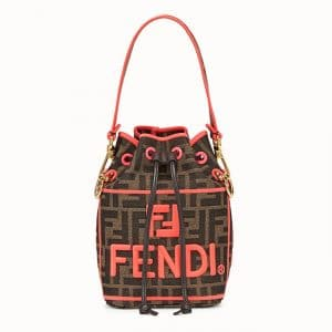 Fendi Red Fendi Roma Amor Fabric Mon Tresor Bag