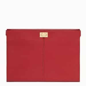 Fendi Red Peekaboo Clutch Wallet