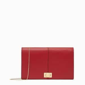 Fendi Red Peekaboo Wallet on Chain Bag