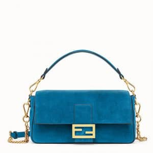 Fendi Teal Blue Suede Baguette Bag