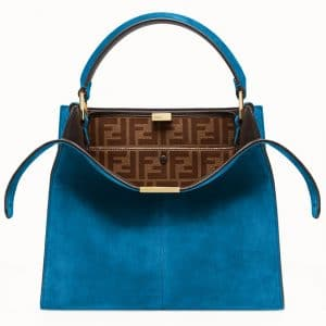 Fendi Teal Blue Suede Peekaboo X-Lite Regular Bag