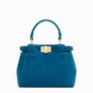 Fendi Teal Blue Suede Peekaboo XS Bag