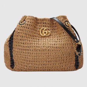 Gucci Beige Raffia GG Marmont Large Tote Bag