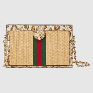Gucci Beige Straw Ophidia Small Shoulder Bag