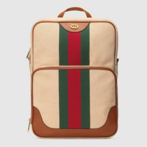 Gucci Beige Vintage Canvas Backpack Bag