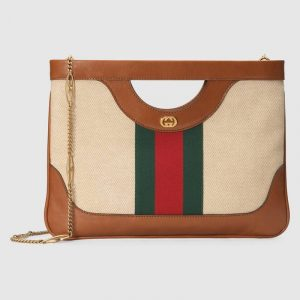 Gucci Beige Vintage Canvas Large Shoulder Bag