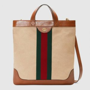 Gucci Beige Vintage Canvas Large Tote Bag