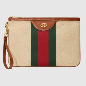 Gucci Beige Vintage Canvas Pouch Bag