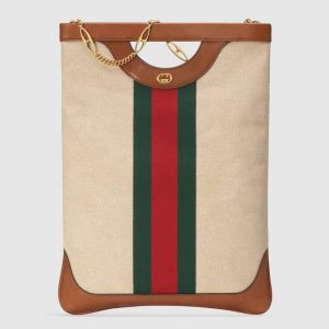 Gucci Beige Vintage Canvas Top Handle Tote Bag