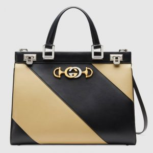 Gucci Beige/Black Diagonal Stripe Zumi Medium Top Handle Bag