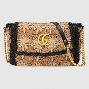Gucci Beige/Black Floral Raffia GG Marmont Small Shoulder Bag
