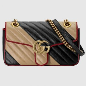 Gucci Beige/Black GG Marmont Small Shoulder Bag