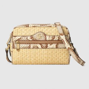 Gucci Beige/Brown Straw Ophidia Mini Bag