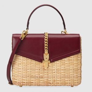 Gucci Beige/Burgundy Wicker Sylvie Small Top Handle Bag