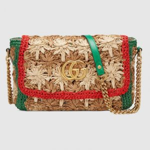Gucci Beige/Green Floral Raffia GG Marmont Small Shoulder Bag