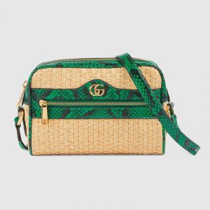 Gucci Beige/Green Straw Ophidia Mini Bag