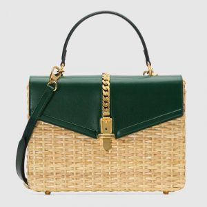 Gucci Beige/Green Wicker Sylvie Small Top Handle Bag