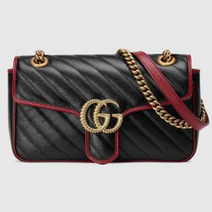 Gucci Black GG Marmont Small Shoulder Bag