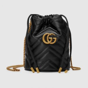 Gucci Black Leather GG Marmont Mini Bucket Bag