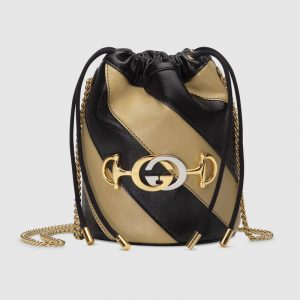 Gucci Black/Beige Zumi Mini Bucket Bag