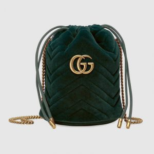 Gucci Dark Green Velvet GG Marmont Mini Bucket Bag