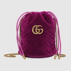 Gucci Fuchsia Velvet GG Marmont Mini Bucket Bag
