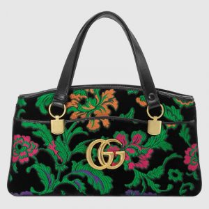 Gucci Multicolor Floral Velvet Jacquard Arli Large Top Handle Bag