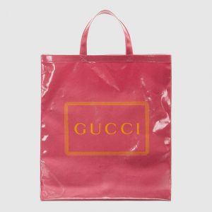 Gucci Pink Logo Print Medium Tote Bag