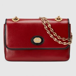 Gucci Red Leather Small Shoulder Bag.