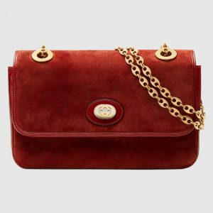Gucci Red Suede Small Shoulder Bag