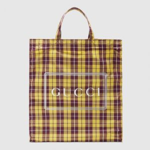 Gucci Yellow/Bordeaux Check Print Medium Tote Bag