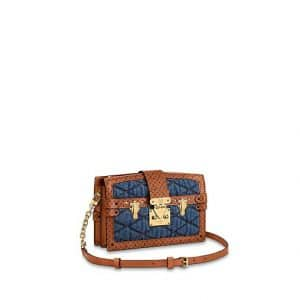 Louis Vuitton Blue Denim Trunk Clutch Bag