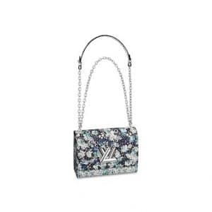 Louis Vuitton Blue Floral Print Twist MM Bag