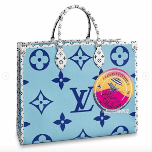 Louis Vuitton Blue Monogram Giant Palma de Mallorca Onthego Tote Bag
