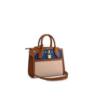Louis Vuitton Blue/Beige Taurillon City Steamer Mini Bag