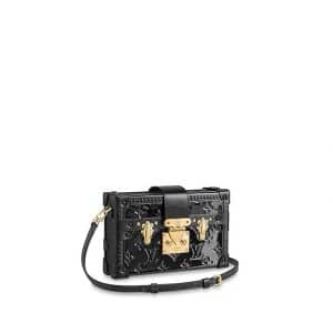 Louis Vuitton Noir Monogram Vernis Petite Malle Bag