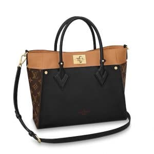 Louis Vuitton Noir Calfskin/Monogram Canvas On My Side Tote Bag