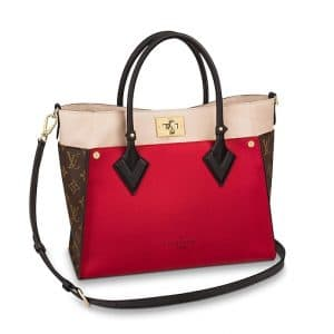 Louis Vuitton Pirate Red Calfskin/Monogram Canvas On My Side Tote Bag