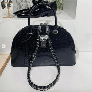 Louis Vuitton Black Ostrich Alma Bag